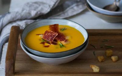 """Crema de Calabaza y Jengibre con Crujiente de Jamón Ibérico """"Cocinando con Jamón"""""""